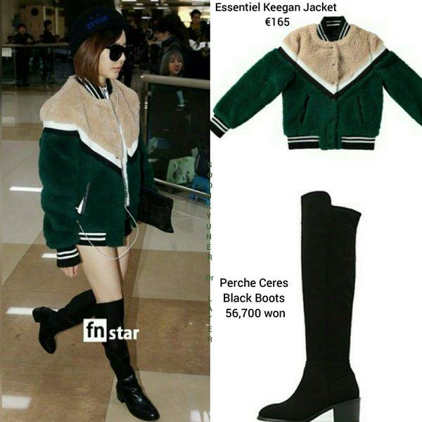 Những mẫu áo khoác mùa đông của Sunny có chung phong cách thể thao, kiểu dáng ngắn, giúp cô nàng giấu nhược điểm chiều cao. Mới đây, thành viên SNSD mặc áo khoác của Essentiel có giá gần 4 triệu đồng, kết hợp boots quá gối của Perche Ceres t