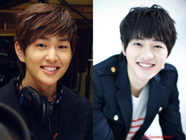 Song Joong Ki (phải) và Onew (SHINee) giống như cặp anh em đúc ra từ một   khuôn