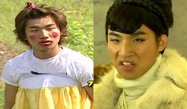 """Gương mặt """"xấu lạ"""" của Dae Sung cũng góp phần mang đến tiếng cười cho khán giả khi anh chàng tham gia show truyền hình Family Outing hay giả gái trong phiên bản nhái Secret Garden."""