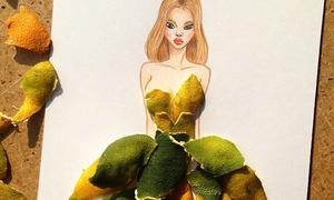 Phác họa thời trang 3D từ que diêm, vỏ trái cây