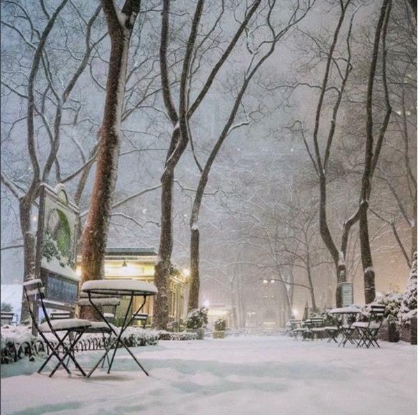 """Công viên Bryant mơ màng trong tuyết phủ, được nữ tác giả ví như """"Wonderland"""" - """"Mảnh đất kỳ diệu""""."""