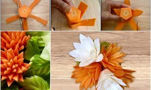 Cách tỉa củ quả trang trí đĩa thức ăn ngày Tết