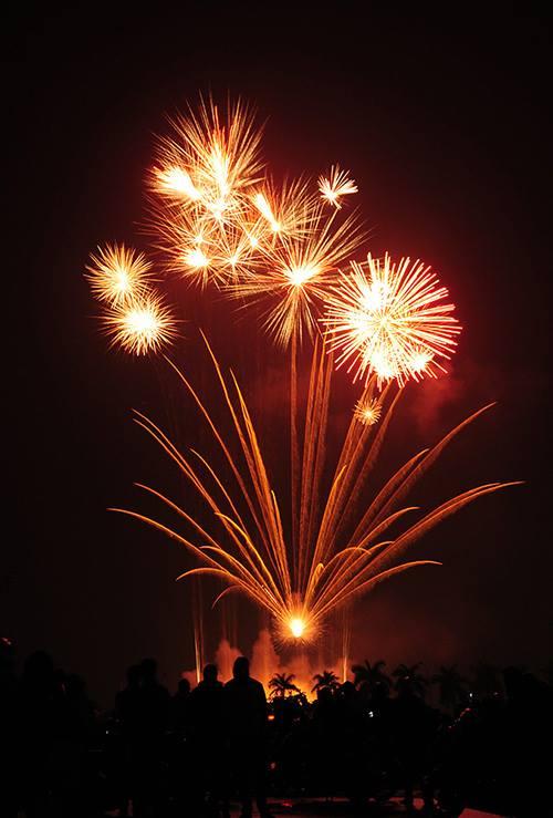 Đúng 0 giờ, màn pháo hoa rực sáng ở khu vực Mỹ Đình.