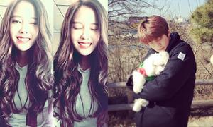 Sao Hàn 8/2: Hyo Min tóc gợn sóng xinh đẹp, Se Hun ôm cún tắm nắng