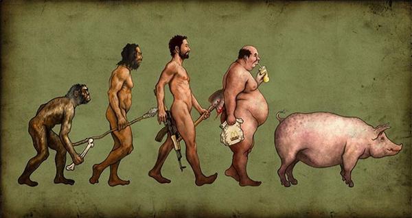 Quá trình tiến hóa của con người từ vượn đến... lợn chỉ vì nạp quá nhiều chất ngọt và béo.
