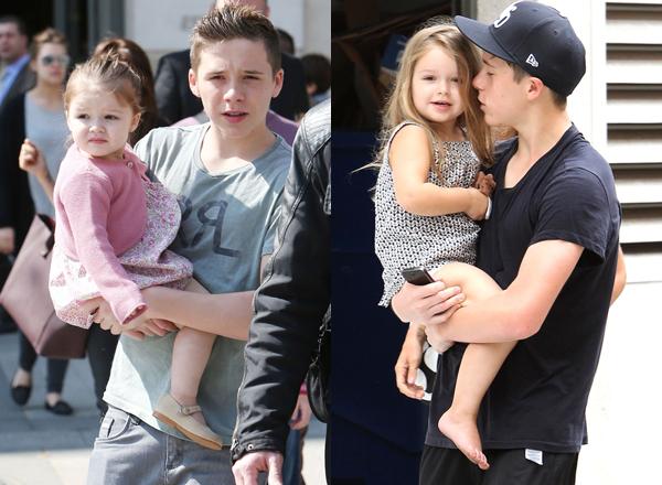 Brooklyn Beckham (1999) luôn xuất hiện đều đều trên mặt báo bởi có bố mẹ là cặp   đôi nổi tiếng David - Victoria Beckham. Không chỉ có ngoại hình điển trai,   Brooklyn còn hút fan bởi những hình ảnh dễ thương khi chăm sóc em gái Harper.