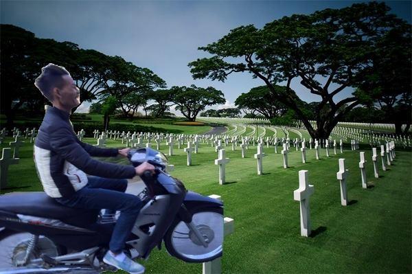 Lượn xe không mũ bảo hiểm thì... phi ra nghĩa trang ngay nhé!