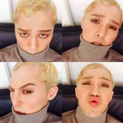 """Anh chàng nhạy bén với thời trang G-Dragon chắc chắn không thể nằm ngoài cuộc chơi. Trong buổi chụp hình kỉ niệm 17 năm của tạp chí Vouge G-Dragon diện tạo hình ấn tượng với mái tóc vàng xoăn rất Tây, lông mày nâu vàng rậm, gò má ửng cam. Chút tàng nhang chính là vũ khí hoàn thiện ngoại hình lai của anh chàng. Nhiều fan bình luận """"GD trông thật khác. Quả thực rất giống một chàng trai châu Âu."""""""