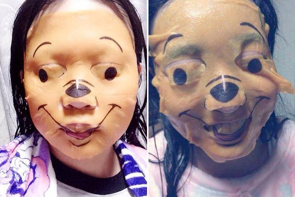 Tuy nhiên không ít teen sau khi đắp mặt nạ lên mặt, nhìn trong gương lại tự thấy... hết hồn. Hình vẽ chưa được tinh tế khiến gương mặt gấu Pooh bị biến dạng méo mó trông rất giống phim kinh dị.