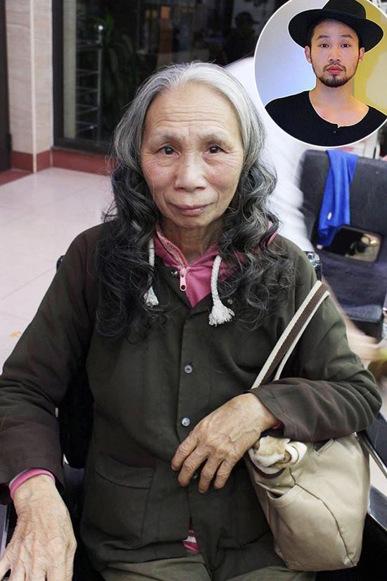 Hình ảnh cụ bà sau khi được làm tóc xoăn.