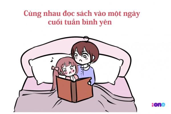 Với con gái, không gì bình yên hơn là được nằm trong vòng tay người ấy và cùng nhau đọc sách.