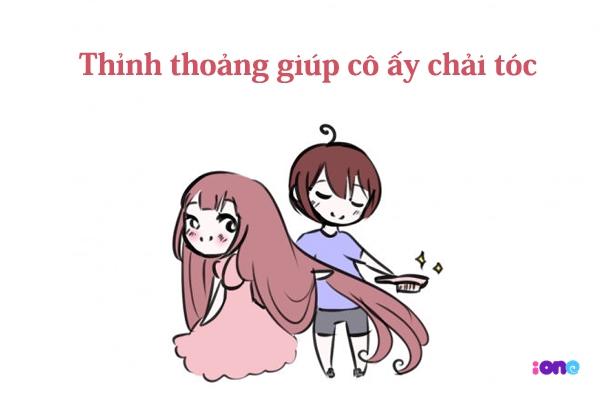 Chải tóc cho bạn gái là một hành động tràn đầy yêu thương và không hề bớt đi nam tính đâu nhé.