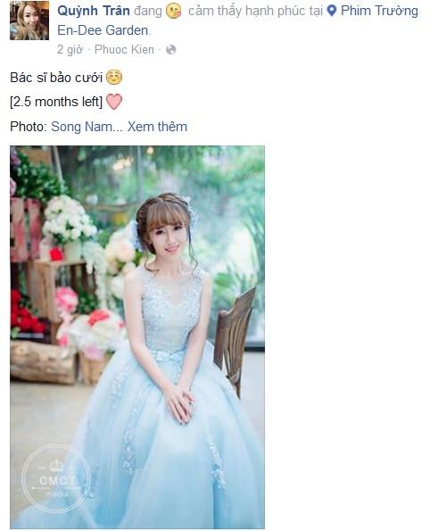 """Quỳnh Trân chọc fan bằng status hài hước """"bác sĩ bảo cưới"""" trong trang phục cô dâu."""