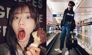 Sao Hàn 3/4: Victoria khoe xì tai chất lừ, Nana đăng ảnh xấu bất chấp hình tượng