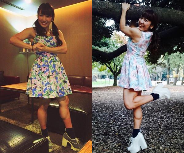 Cô nàng có sở thích khá lạ là mặc váy nữ tính và tạo dáng lực sĩ, để lộ cơ bắp tạo   cảm giác đối lập mạnh mẽ.