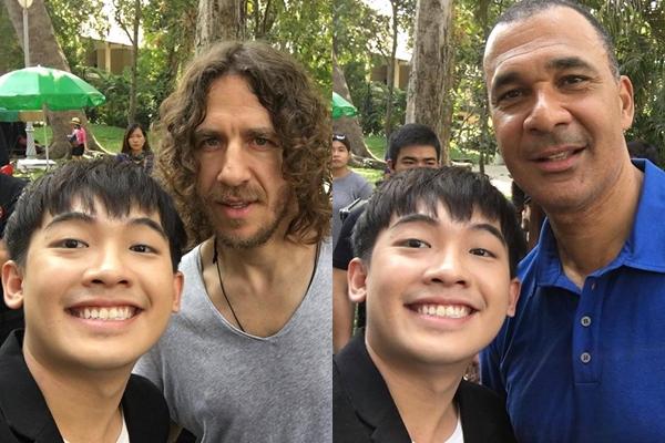 Phở Đặc Biệt khoe fan ảnh selfie với 2 danh thủ cùng dòng trạng thái: 'Thật vinh dự được gặp Puyol lòn em