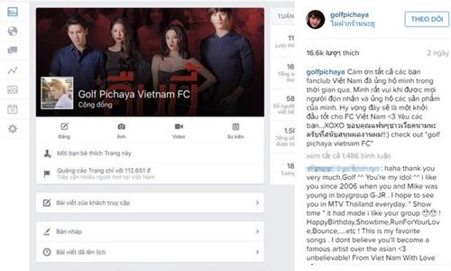 Golf cũng khoe anh được fan Việt Nam lập fanpage riêng. Anh cũng đã gửi lời cảm ơn đến người hâm mộ đất nước hình chữ S và chụp lại màn hình fanpage của fan để khoe trên Instagram.
