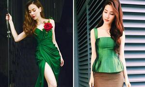 Sao style 9/5: Diễm My, Hà Hồ sang chảnh với màu ngọc quý