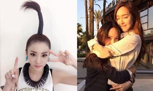 Sao Hàn 18/5: Krystal ôm chặt Jessica, Dara cột tóc cây dừa huyền thoại