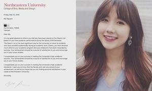 Mie Nguyễn được khen ngợi vì thành tích từ đại học danh tiếng