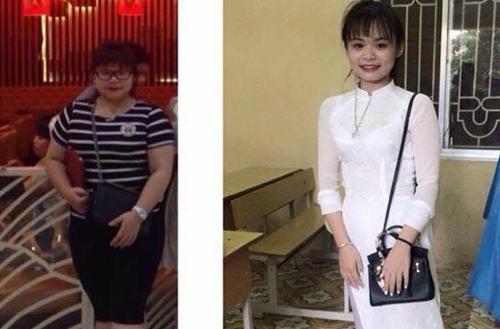 Sự khác biệt về ngoại hình của Hải Yến trước và sau khi giảm cân.