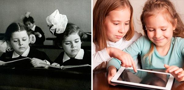 Thời xưa, học sinh chỉ biết có sách vở. Ngày nay, học sinh sử dụng thành thạo   công nghệ hiện đại.