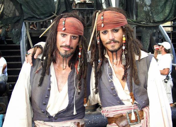 Johnny Depp and his stunt double Tony Angelotti,