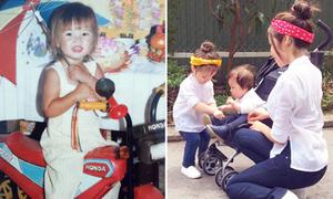 Sao Việt 1/6: Khởi My tóc vàng hoe từ bé, Cadie buộc dây giày cho em trai