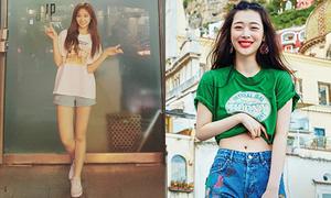 Sao Hàn 15/6: Sulli vén áo khoe eo thon, Tzuyu chân dài như người mẫu
