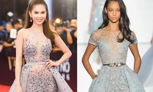 Váy nặng 10kg của Ngọc Trinh lại bị nghi là hàng nhái