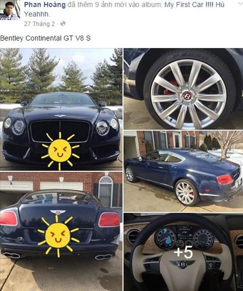 Phan Hoàng từng khoe trên trang cá nhân rất nhiều bức ảnh về xế hộp, trong đó phải kể đến chiếc Bentley Continental GT V8 S vào tháng 2/2015 có giả khoảng  4,4 tỷ đồng.
