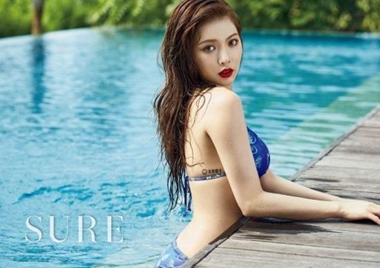 Sở hữu thân hình nóng bỏng, cuốn hút, cựu thành viên 4minute rất thành công với hình tượng sexy, mệnh danh là nữ hoàng gợi cảm của Kpop. Hyun Ah không ngại khoe thân hình đẹp của mình trong các sản phẩm âm nhạc solo cũng như của nhóm. Nữ ca sĩ còn khiến các fan bỏng mắt vì những shoot ảnh kiệm vải, tư thế tạo dáng táo bạo trên các tạp chí. Giọng ca RED thường hiếm khi nào vắng mặt trong những danh sách như thế này.
