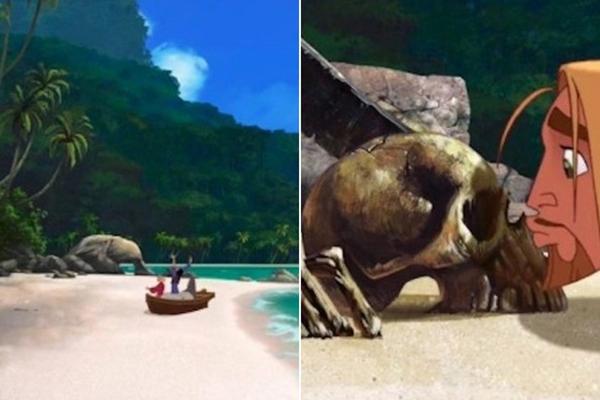 Lúc Miguel và Tulio (The Road to El Dorado) cập bến, bãi biển hoàn toàn trống trơn không có gì. Nhưng khi họ cúi xuống hôn bãi cát thì ngay lập tức thấy 1 chiếc đầu lâu.