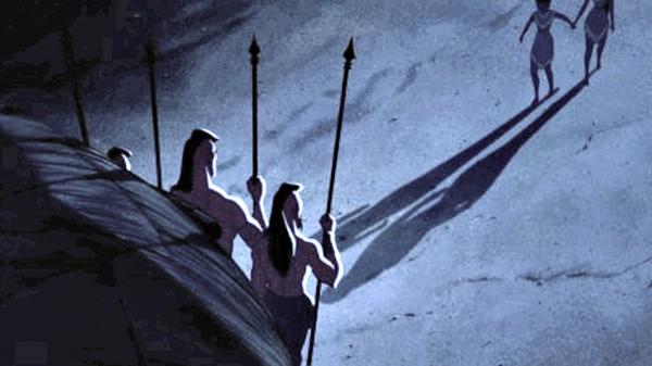 Pocahontas và Nakoma rõ ràng alf nắm chặt tay hau nhưng cái bóng của 2 người thì lại không phản chiếu điều đó.