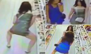 2 cô gái bị camera ghi lại cảnh ăn cắp kẹo, giấu trong quần lót