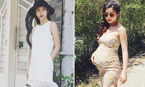 Sao style 1/8: Midu khoe vẻ trong sáng, Diễm Trang mặc váy bó tôn bụng bầu