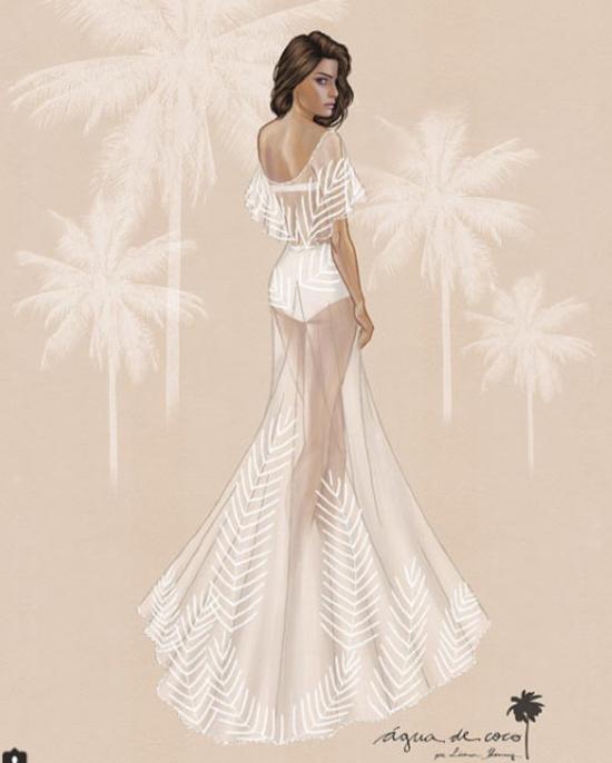 Bản phác thảo áo cưới của thương hiệu  Agua de Coco dành cho Isabeli Fontana