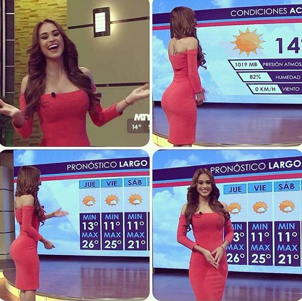 1. Yanet Garcia, 25 tuổi, là phát thanh viên dự báo thời tiết trên kênh Televisa Monterrey ở Mexico. Sở hữu diện mạo ưa nhìn và đường cong hút mắt, đặc biệt là vòng 3 gợi cảm, Yanet được các fan ca ngợi là cô gái thời tiết nóng bỏng nhất thế giới.