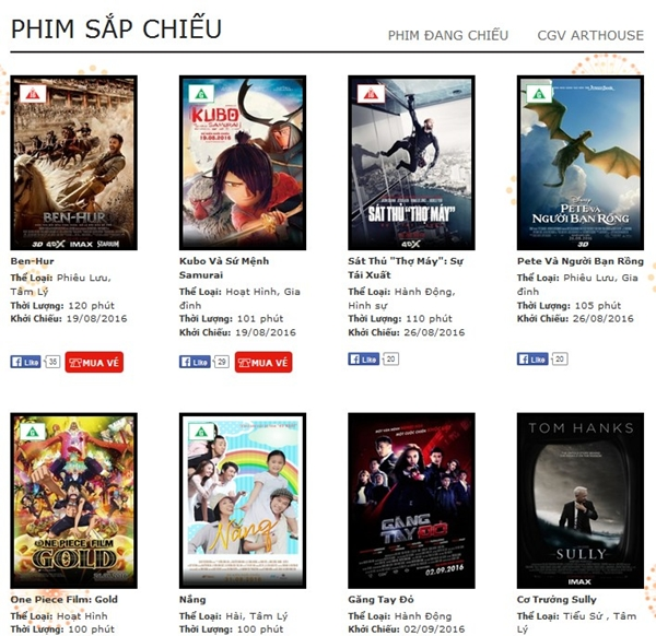 Dù còn vài ngày nữa theo lịch công chiếu công bố nhưng hiện Tấm Cám vẫn chưa có mặt trong danh sách phim chờ của hệ thống rạp CGV.