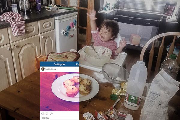 Blogger Bridie By The Sea đăng ảnh thành quả làm bánh lên Instagram, bỏ qua   đống bề bộn chưa kịp dọn xung quanh và tranh thủ lúc cô con gái nhỏ vừa bắt đầu   gào thét.