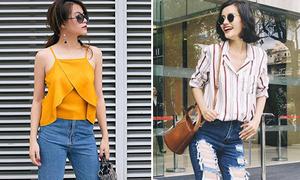 Sao style 31/8: Hoàng Thùy Linh - Kim Chi khác biệt với jeans rách te tua
