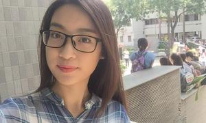 Hoa hậu Mỹ Linh giản dị quay lại trường học