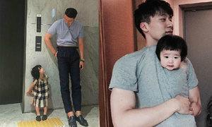 Ông bố cao gần 2m hot vì ảnh chụp cùng con gái