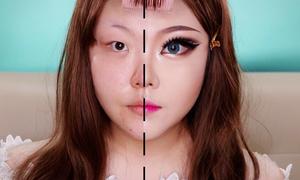 Cô gái Hàn da mụn, không chân mày chứng minh sức mạnh của makeup