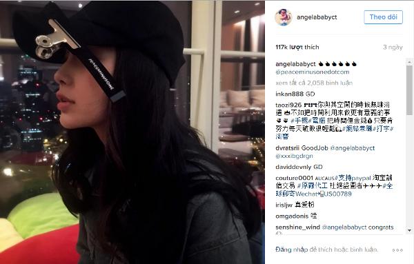 Các fan thích thú khi Angelababy cũng chuộng mốt mũ lưỡi trai kẹp ghim.