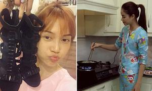 Sao Việt 3/11: Sĩ Thanh mặt mộc nhợt nhạt, Phạm Hương mặc đồ ngủ vào bếp