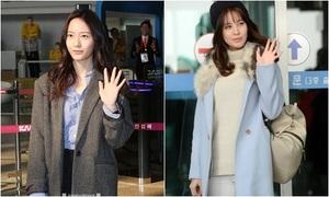 Seo Hyun, Krystal nhợt nhạt, mặt ngái ngủ khi ra sân bay