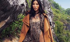 Hoàng Thùy mặc 'áo tắm' giữa núi rừng, khoe chân dài 1m15