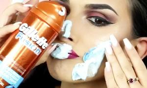 Beauty blogger dùng kem cạo lông để tẩy trang