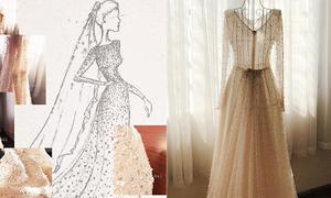 Váy cưới đính 10.000 viên pha lê của 'cô gái thời tiết' Mai Ngọc